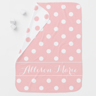 Baby Pink and White Polka Dot Personalized Baby Blanket