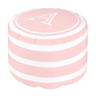Baby Pink and White Stripe Monogram Pouf