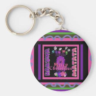 Baby pink Beautiful Merry Christmas Hakuna Matata Basic Round Button Key Ring