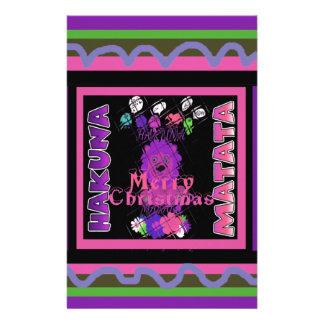 Baby pink Beautiful Merry Christmas Hakuna Matata Personalised Stationery