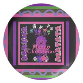 Baby pink Beautiful Merry Christmas Hakuna Matata Plate