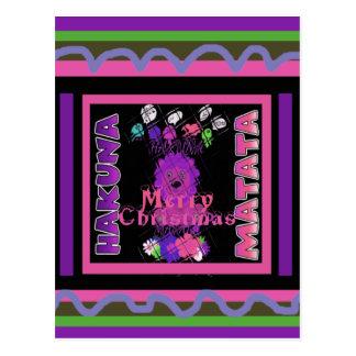 Baby pink Beautiful Merry Christmas Hakuna Matata Postcard