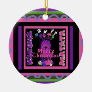 Baby pink Beautiful Merry Christmas Hakuna Matata Round Ceramic Decoration