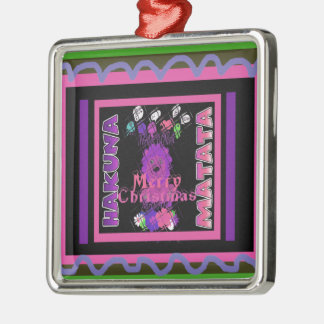 Baby pink Beautiful Merry Christmas Hakuna Matata Silver-Colored Square Decoration