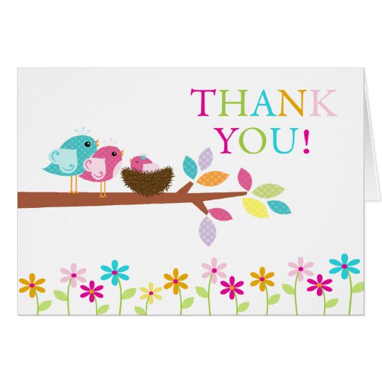Baby Pink Birds Nest Thank You Note Card