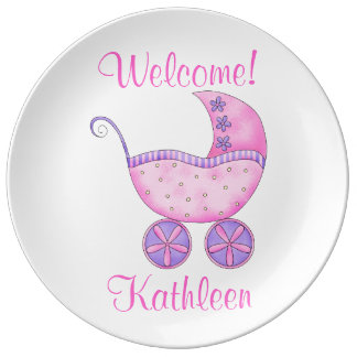 Baby Pink Buggy Carriage Keepsak Name Personalized Porcelain Plate