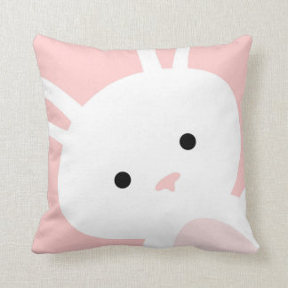 Baby Pink Bunny Nursery Throw Pillow