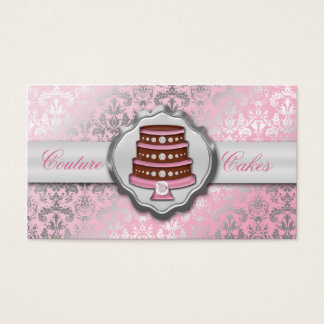 Baby Pink Cake Couture Glitzy Damask Cake Bakery Business Card
