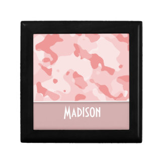 Baby Pink Camo; Personalized Small Square Gift Box
