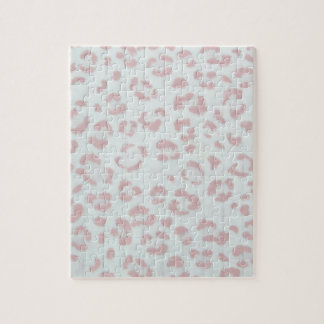 baby pink cheetah animal jungle print jigsaw puzzle