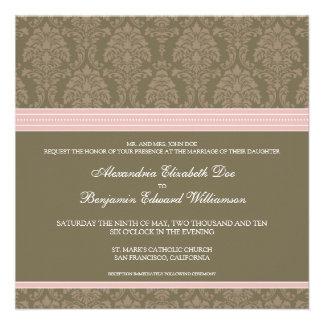 Baby Pink Chocolate Damask Wedding Invitation