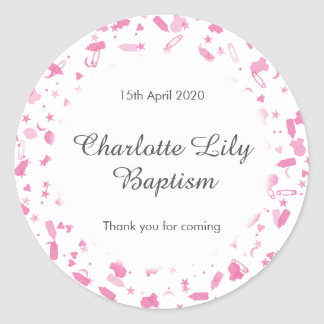 Baby Pink Confetti Baptism Christening Favor Round Sticker