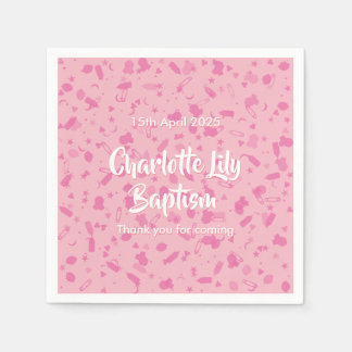 Baby Pink Confetti Baptism Christening Paper Napkin