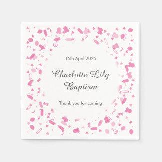 Baby Pink Confetti Baptism Christening Paper Napkins