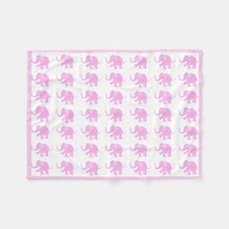 Baby Pink Cute Little Elephant Baby Pattern Fleece Blanket