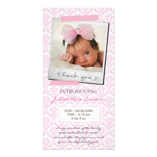 Baby Pink Damask Washi Tape Polaroid Thank You Personalized Photo Card