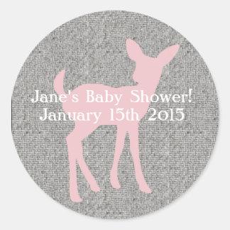 Baby Pink Deer and Gray Burlap Sticker