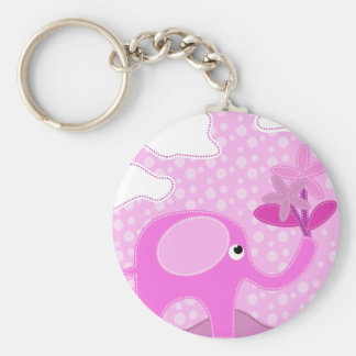 Baby Pink Elephant and Flowers Basic Round Button Key Ring