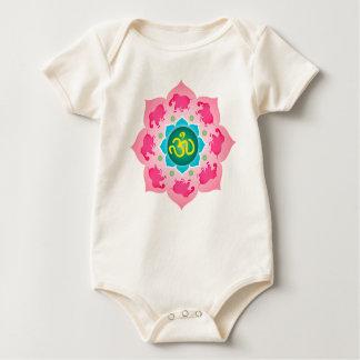 Baby Pink elephants Namaste Lotus Flower Baby Bodysuit
