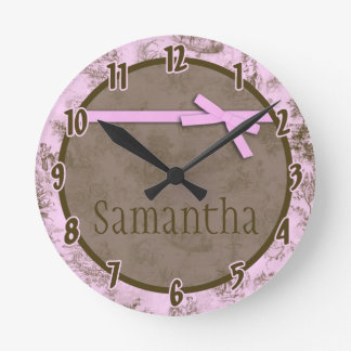 Baby Pink French Fabric Toile Personalized Clock
