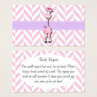 Baby Pink Giraffe Baby Boy Shower Book Request Business Card