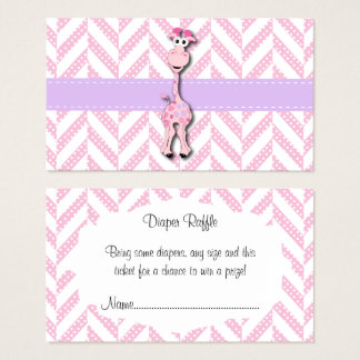 Baby Pink Giraffe Baby Boy Shower Diaper Raffle Business Card