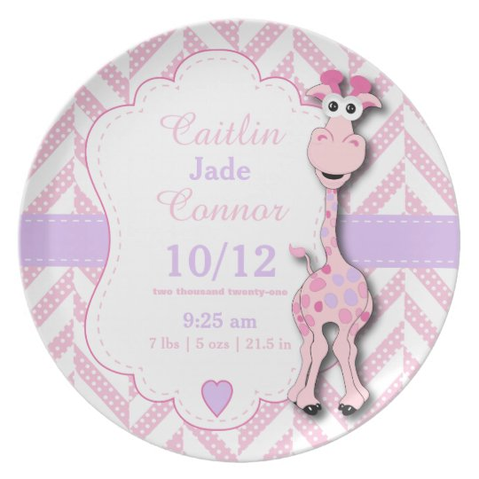 Baby Pink Giraffe - Birth Information Plate