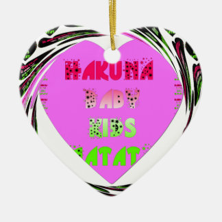 Baby Pink  Hearts Hakuna Matata Baby Kids Design.p Ceramic Heart Decoration