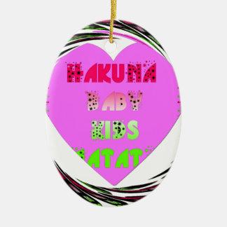 Baby Pink  Hearts Hakuna Matata Baby Kids Design.p Ceramic Oval Decoration