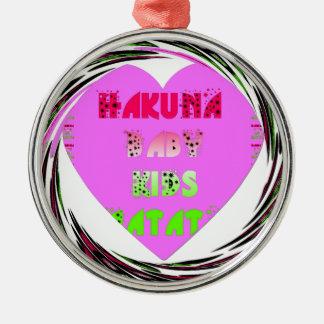 Baby Pink  Hearts Hakuna Matata Baby Kids Design.p Silver-Colored Round Decoration