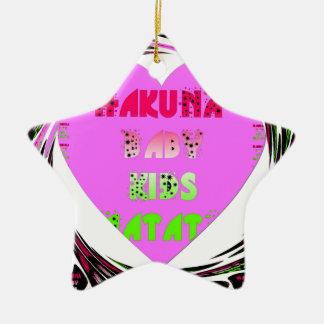 Baby Pink  Hearts Hakuna Matata Baby Kids Design.p Ceramic Star Decoration
