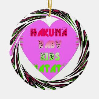 Baby Pink  Hearts Hakuna Matata Baby Kids Design.p Round Ceramic Decoration
