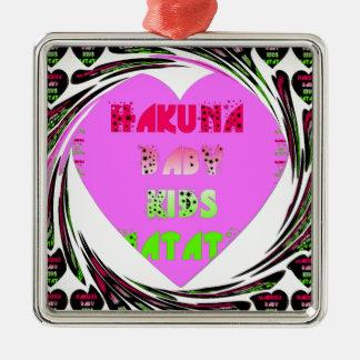 Baby Pink  Hearts Hakuna Matata Baby Kids Design.p Silver-Colored Square Decoration