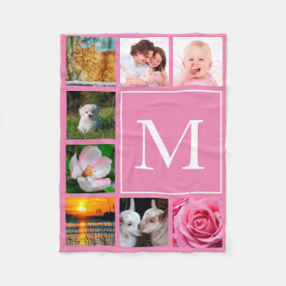 Baby Pink Instagram 8 Photo Collage Monogram Fleece Blanket