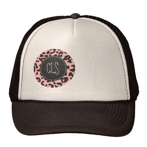 Baby Pink Leopard Animal Print; Chalkboard Hats