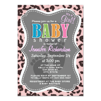 Baby Pink Leopard Animal Print 4.5x6.25 Paper Invitation Card