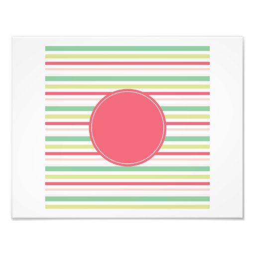 Baby Pink Pastel Mint Green Blue Stripes Circle Photo Print