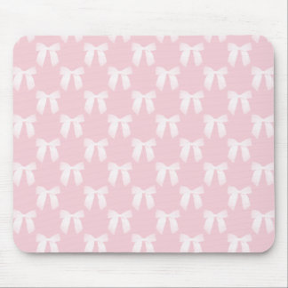 Baby Pink Pastel With White Bows Mouse Pad