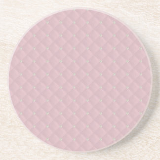Baby Pink Pearl Stud Quilted Drink Coasters