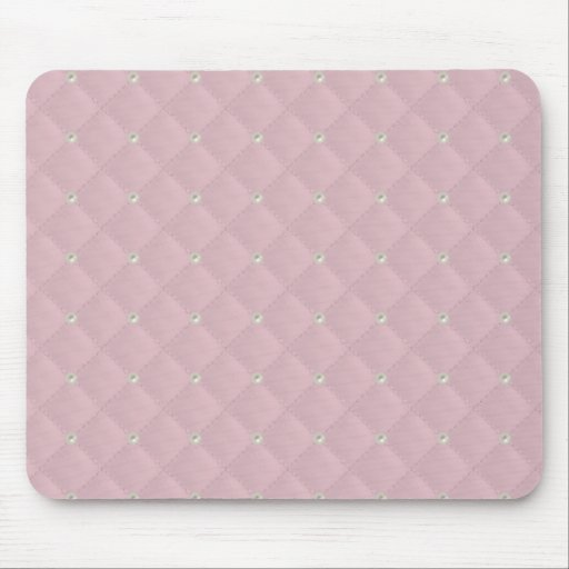 Baby Pink Pearl Stud Quilted Mouse Pad