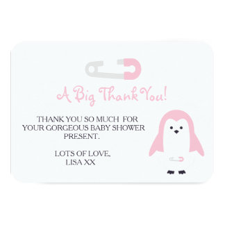 Baby Pink Penguin Thank You 9 Cm X 13 Cm Invitation Card