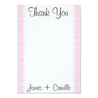 Baby Pink Pinstripes Thank You Card / Note 13 Cm X 18 Cm Invitation Card