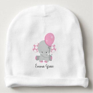 Baby Pink Polka Dot Elephant Girl Baby Monogram Baby Beanie