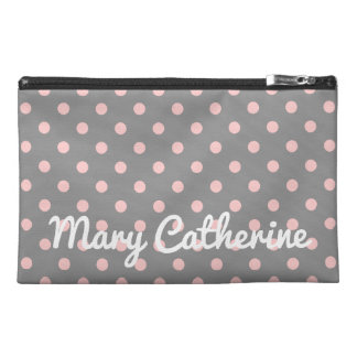 Baby Pink Polka Dots on Dove Grey Personalized Travel Accessory Bags