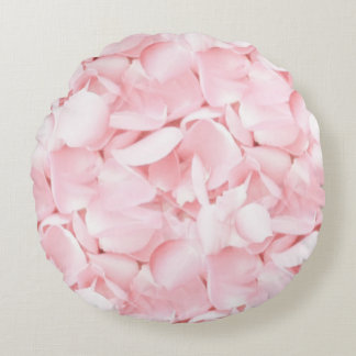 Baby Pink Rose Petals Round Cushion