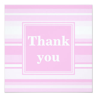 Baby pink stripes thank you card 13 cm x 13 cm square invitation card