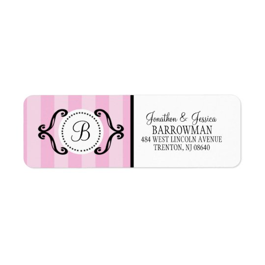 Baby Pink Sweet Charming Striped Personalised Return Address Label