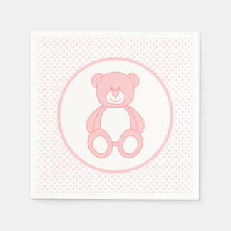 Baby Pink Teddy Bear Paper Napkins Disposable Napkin