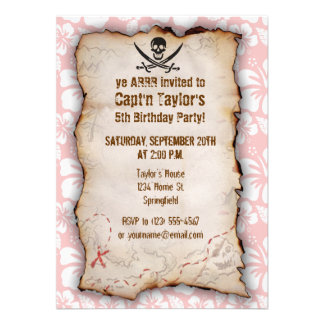 Baby Pink Tropical Hibiscus Jolly Roger Custom Invitation
