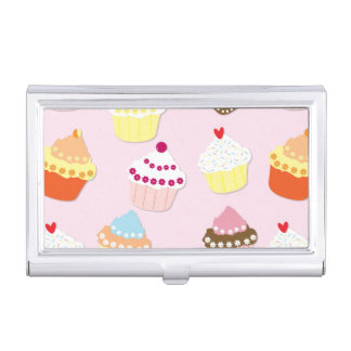 Baby Pink Valentines Cup Cakes Business Card Holder